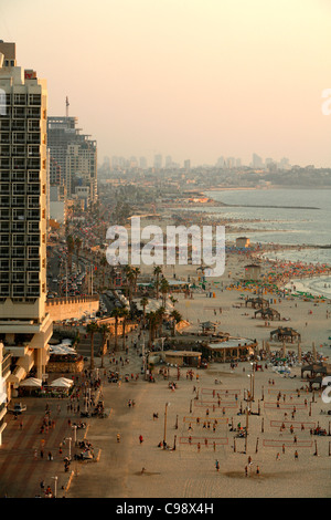 View over the skyline and beaches of of Tel Aviv, Israel. - Stock Photo