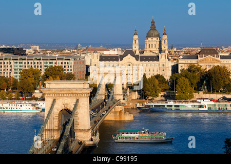 Budapest, Chain Bridge and St. Stephen s Basilica - Stock Photo