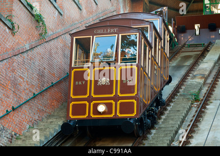 Hungary, Funicular to Castle District of Budapest - Stock Photo