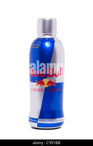 A bottle of Red Bull energy drink on a white background - Stock Photo