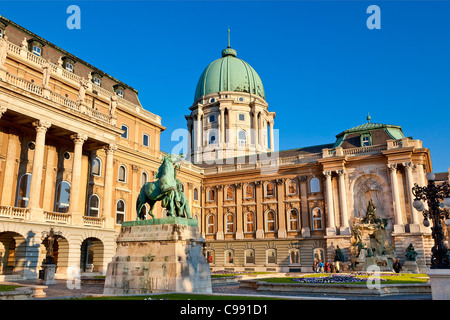 Budapest, Statue of the horseherd Front of Royal Palace - Stock Photo