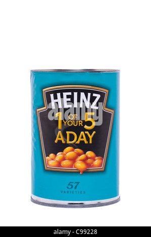 A tin of Heinz baked beans in tomato sauce on a white background - Stock Photo