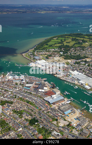 Aerial photo of Cowes and the Solent, Isle of Wight, Hampshire, England, UK, United Kingdom, GB, Great Britain, - Stock Photo