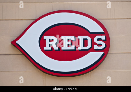 Reds sign on the Great American Ball Park in Cincinnati, Ohio - Stock Photo