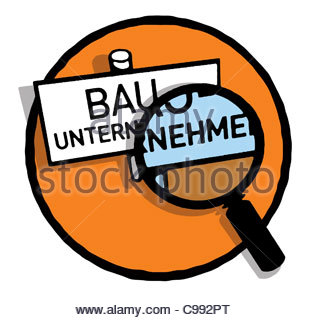 Series Symbols logo berprfung magnifying glass Builder Industry Lending Sym - Stock Photo