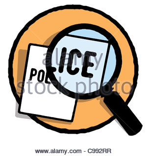 Series Symbols logo berprfung Police magnifying glass Symbol Icon Image Sym - Stock Photo