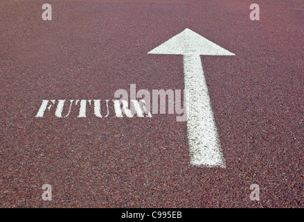 an arrow on the asphalt showing the future direction - Stock Photo