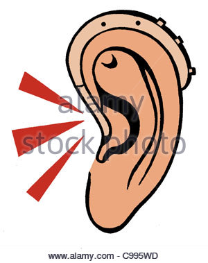 Ear with Hearing aid - Stock Photo