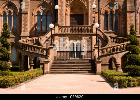 Winter sunlight reflecting on the front entrance of the McManus Art gallery in Dundee,UK - Stock Photo