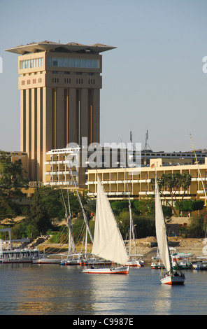 ASWAN, EGYPT. A view of the Movenpick Hotel on the banks of the River Nile. 2009. - Stock Photo