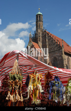 Traditional craft decoration at a market stall on the main market Hauptmarkt at Frauenkirche in Nuremberg, Franconia, - Stock Photo