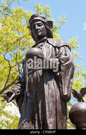 Christopher Columbus statue on the Statehouse grounds in Columbus, Ohio. - Stock Photo