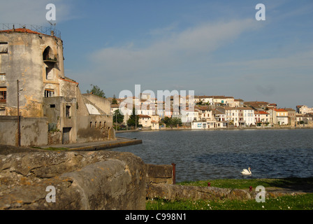 Grand Basin, bassin, of Canal du Midi at Castelnaudary in Aude, France - Stock Photo