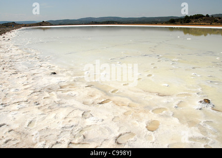 Salt lake in the Parc naturel régional de la Narbonnaise en Méditerranée in Aude, Pays Cathare, Roussillon, France - Stock Photo