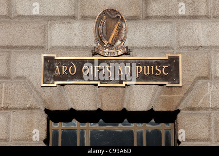 Sign outside the General Post Office at O'Connell Street in Dublin, Ireland - Stock Photo