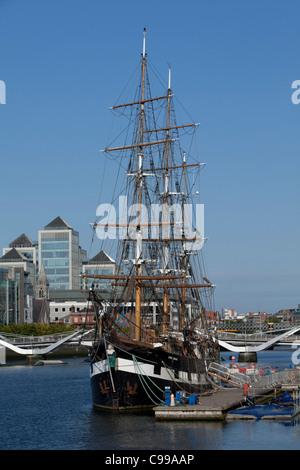 The three masted bark Jeanie Johnston in Dublin, Ireland - Stock Photo