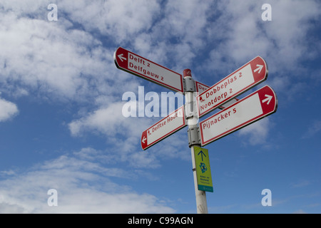 A cycle route (fietsroute) sign near the town of Delft, Zuid-Holland, The Netherlands - Stock Photo