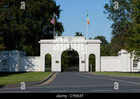 Entrance gate of the official residence of the United States Ambassador at the Phoenix Park in Dublin, Ireland - Stock Photo
