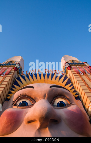 The Smiling face entrance at Luna Park on Sydney's North Shore. Sydney, New South Wales, Australia - Stock Photo