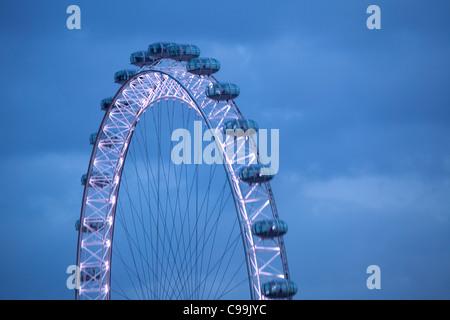 London eye viewed at dusk, London, UK - Stock Photo