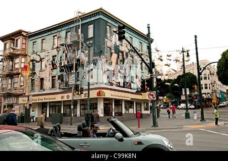 North Beach Little Italy San Francisco music Jazz  San Francisco Chinese Restaurant  Chinatown California United - Stock Photo
