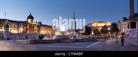 Statue and Fountains,Trafalgar Square, London,UK - Stock Photo