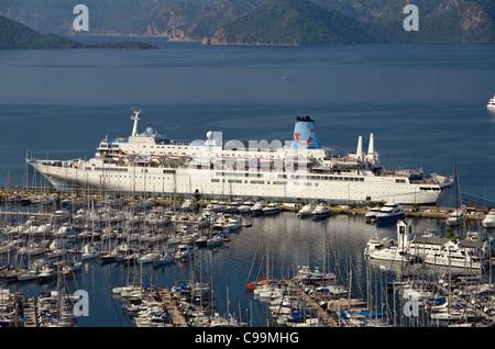 Thomson 'Celebration' cruise ship at Marmaris cruise port, Mugla, Turkey - Stock Photo