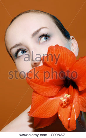 Woman with flower - Stock Photo