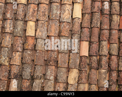 weathered roofing tiles - Stock Photo