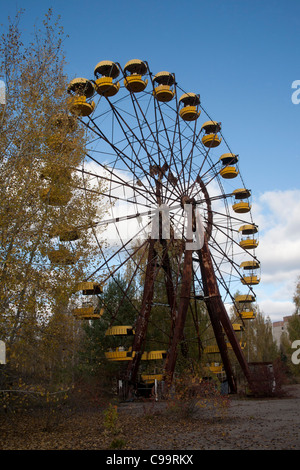 The Pripyat Ferris Wheel in the Pripyat Amusement Park Pripyat Chernobyl exclusion zone Ukraine - Stock Photo