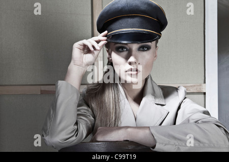 Close up of young woman police officer, portrait - Stock Photo