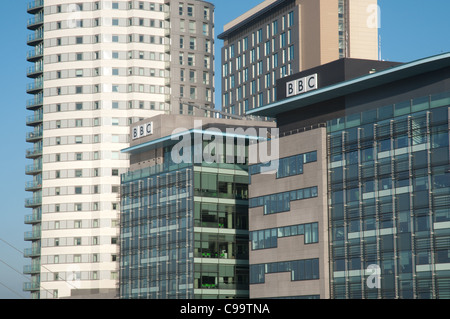 The BBC at Media City UK, Salford Quays. - Stock Photo