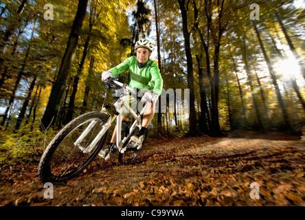 Germany, Bavaria, Landshut, Young man mountainbiking in forest - Stock Photo