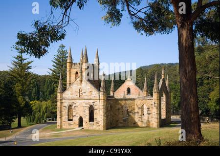 Ruins of the Church at the Port Arthur Historic Site.  Port Arthur, Tasmania, Australia - Stock Photo