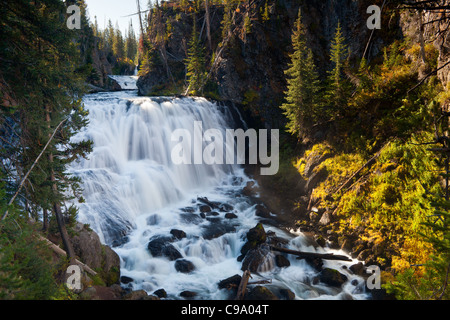 Kepler Cascades are on the Firehole River in Yellowstone National Park.  They drop over 150 feet over multiple tiers, - Stock Photo
