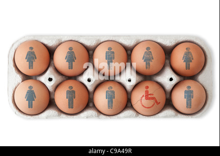 Box of eggs. Male and female symbols on nine of them and one cracked egg with a disabled symbol on it.  White background, - Stock Photo