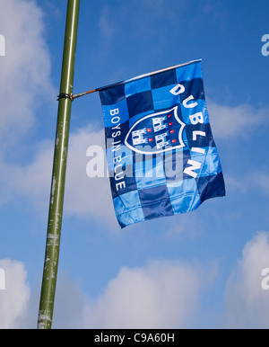 Dublin county Gaelic Football team's flag flying from a lamppost in Skerries, Dublin, Ireland. (All Ireland Champions - Stock Photo