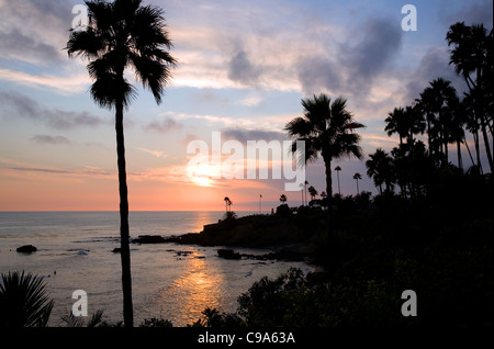 Laguna Beach evening view from Heissler Park - CA - Stock Photo