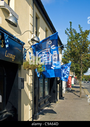 Flags of the Dublin county Gaelic football team festooning a pub in Skerries, co. Dublin, Ireland (All-Ireland champions - Stock Photo