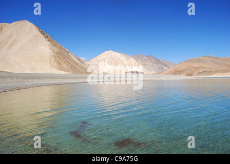 Reflection of Himalaya Mountain Range in Pengong tso Lake ( an endorheic lake in the Himalayas situated at a height - Stock Photo