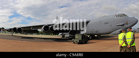 Boeing B-52H Stratofortress is a long-range, subsonic, jet-powered strategic bomber designed and built by Boeing - Stock Photo