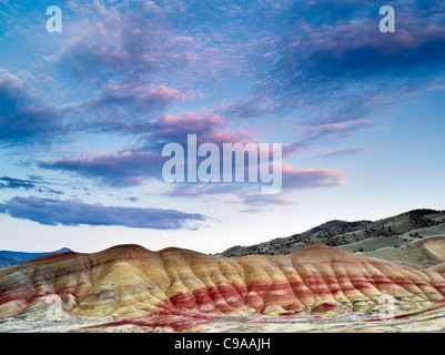 Sunset over Painted Hills. John Day Fossil Beds National Monument. Oregon - Stock Photo