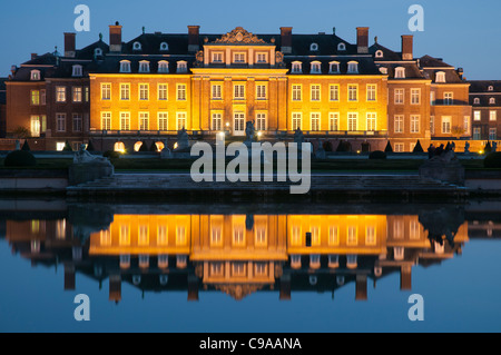 Night shot of the baroque castle Nordkirchen, Muensterland, North Rhine-Westphalia, Germany, Europe - Stock Photo