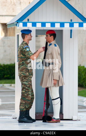 Inspecting the guard at Syntagma square, Athens, Greece. 2011 - Stock Photo
