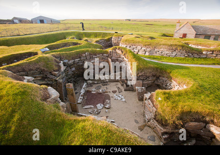 Skara Brae on Orkney's mainland is regarded by many as the most remarkable monument in Europe. - Stock Photo
