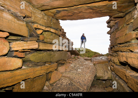 The Broch of Borwick on the west coast of Mainland Orkney, Scotland, UK - Stock Photo