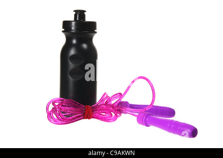 Skipping Rope and Plastic Flask - Stock Photo
