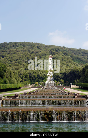 Caserta. Campania. Italy. View of the little waterfalls or stepped cascades of the fountain of Venus and Adonis - Stock Photo