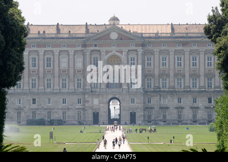 Campania. Italy. View of the rear facade of the Royal Palace or Reggia di Caserta. It is a UNESCO World Heritage - Stock Photo