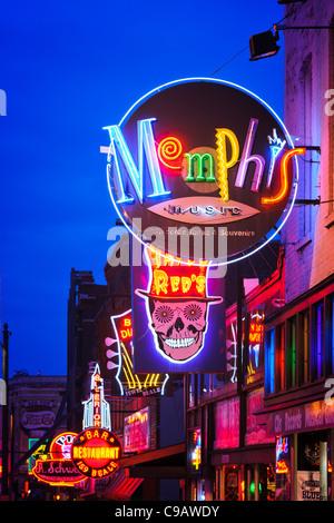 Row of Neon Signs, Beale Street, Memphis - Stock Photo